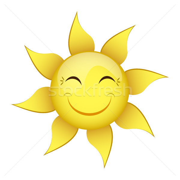 smiling yellow sun on a white background Stock photo © mizar_21984