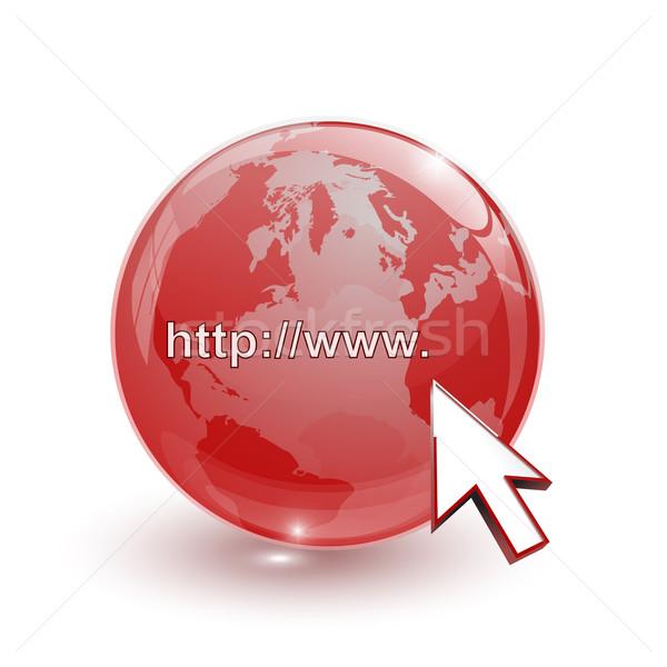 Glas Welt Erde Karte 3D rot Stock foto © mizar_21984