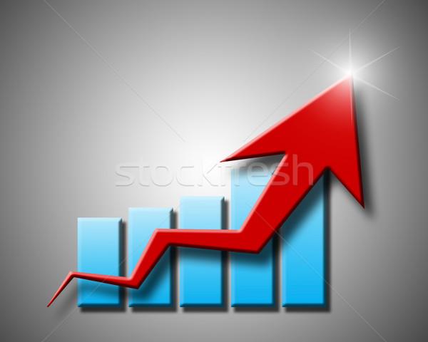 chart and arrow on a grey background in progress Stock photo © mizar_21984