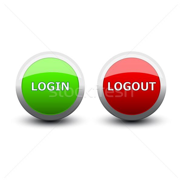 Przyciski login biały komputera fali Zdjęcia stock © mizar_21984