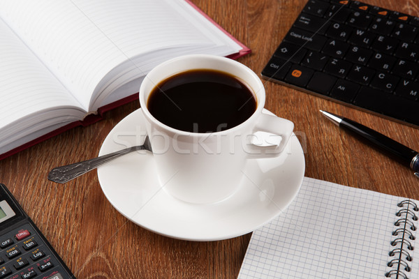 business still life with cup of black coffee Stock photo © mizar_21984