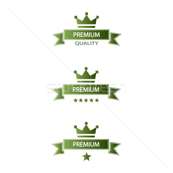 set of green ribbons premium quality Stock photo © mizar_21984