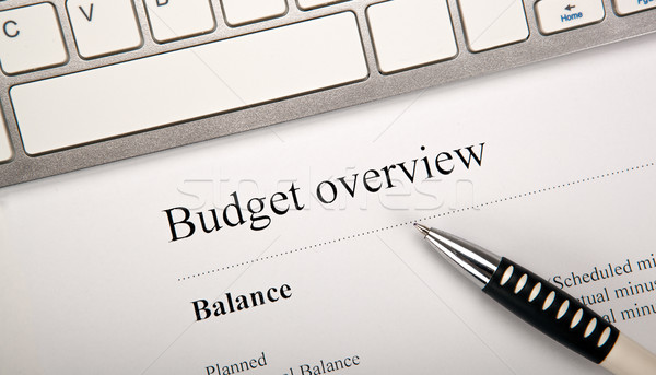 document with title budget overview on the desktop Stock photo © mizar_21984