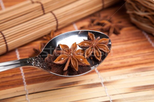 two stars of anise in a spoon Stock photo © mizar_21984