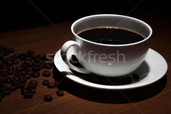Csésze kávé asztal fa asztal fekete étel Stock fotó © mizar_21984