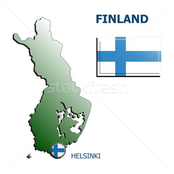Collage mappa bandiera badge Finlandia bianco Foto d'archivio © mizar_21984