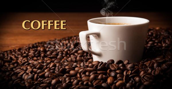 Foto stock: Copo · café · preto · feijões · café
