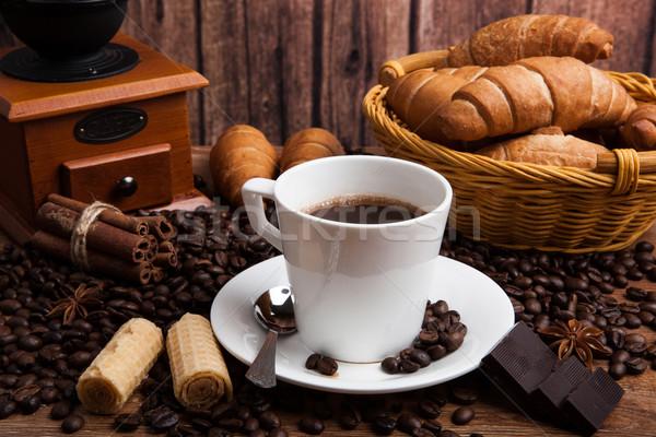 Café natureza morta copo madeira tabela cesta Foto stock © mizar_21984