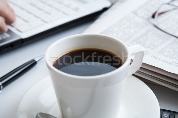 businessman running and a cup of coffee Stock photo © mizar_21984