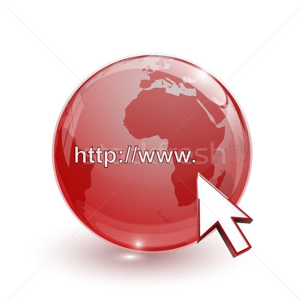 glass globe earth map 3d red and cursor with internet address Stock photo © mizar_21984
