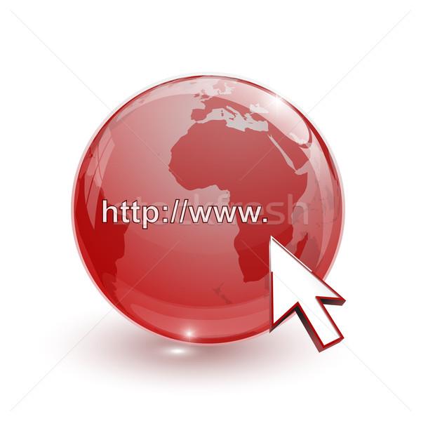 Glas wereldbol aarde kaart 3D Rood Stockfoto © mizar_21984