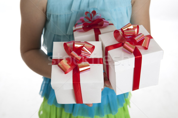 gift boxes in the children's hands Stock photo © mizar_21984