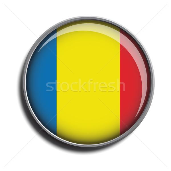 Bandiera icona Romania isolato bianco Foto d'archivio © mizar_21984