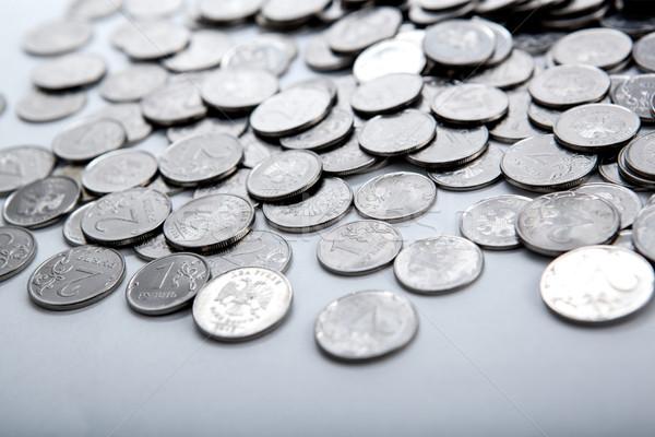 Köteg érmék fehér közelkép pénzügy bank Stock fotó © mizar_21984