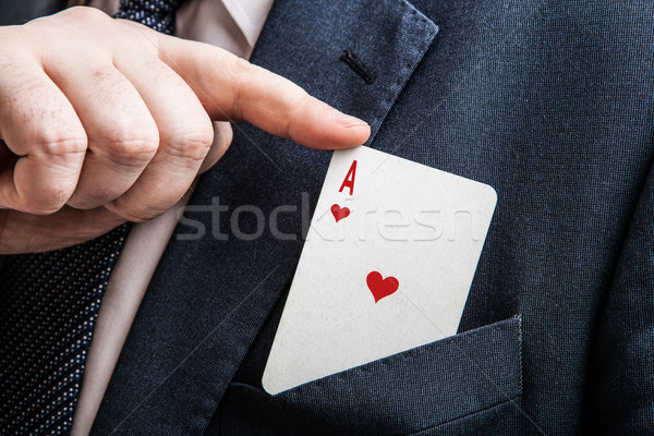 hand pulls the card ace of hearts Stock photo © mizar_21984