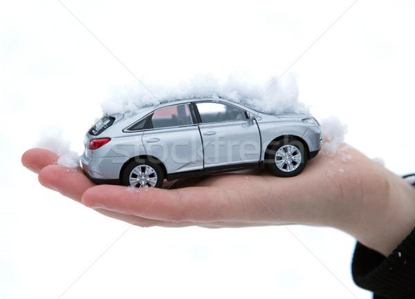 Ragazza mano modello auto neve primo piano Foto d'archivio © mizar_21984