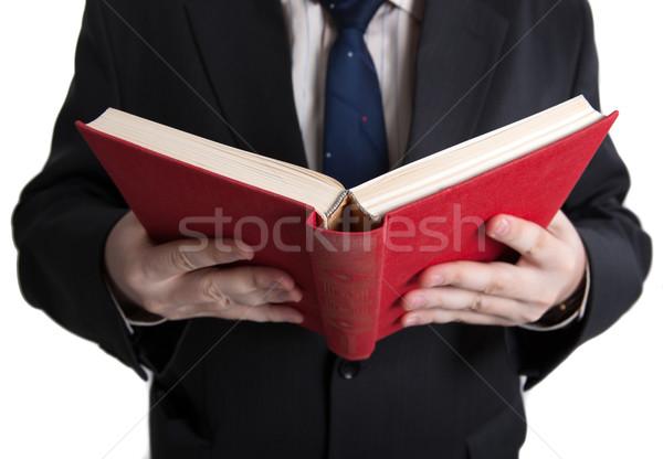 man holding an open red book Stock photo © mizar_21984