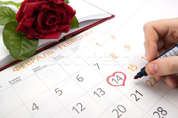 Flor hombre aumentó trabajo calendario escrito Foto stock © mizar_21984
