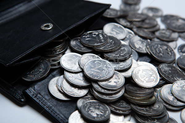 pocket purse with a bunch of Russian coins Stock photo © mizar_21984