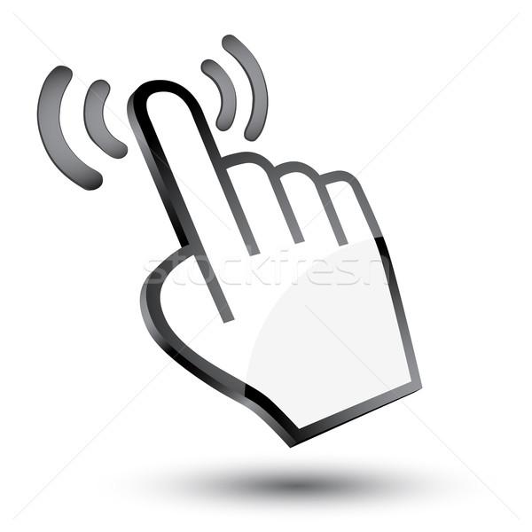 Cursor mão 3D ícone sombra branco Foto stock © mizar_21984