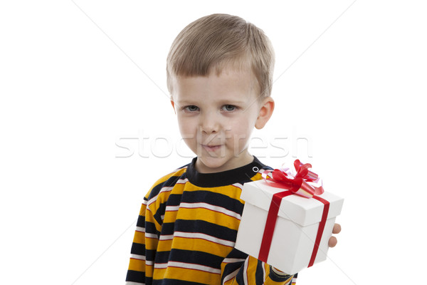 portrait of a little boy with a gift box Stock photo © mizar_21984