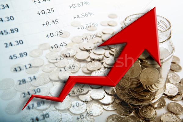 Bank érmék számjegyek diagram közelkép üzlet Stock fotó © mizar_21984