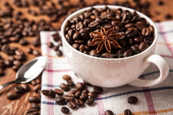 Beker koffiebonen voedsel hout koffie Stockfoto © mizar_21984
