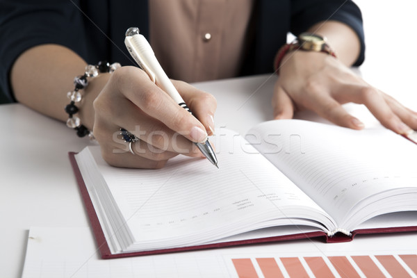 woman calculates future plans Stock photo © mizar_21984