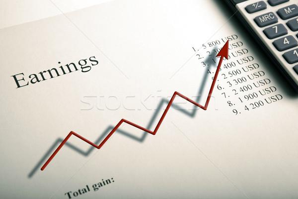 Tabeli zarobek cyfry Kalkulator schemat Zdjęcia stock © mizar_21984