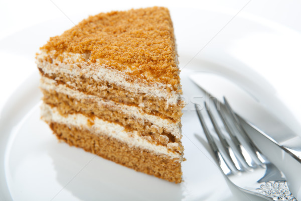 one piece of cream cake on the plate Stock photo © mizar_21984
