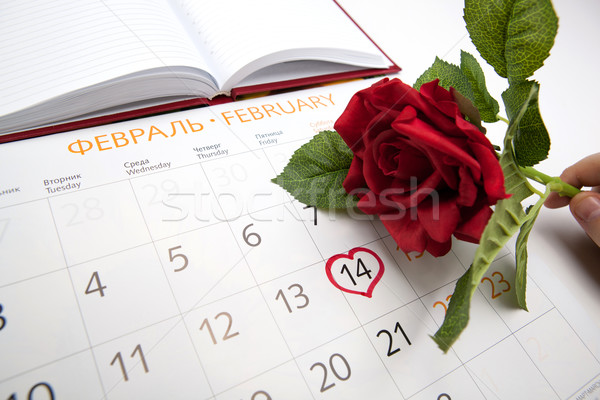 man escorts date in calendar Stock photo © mizar_21984