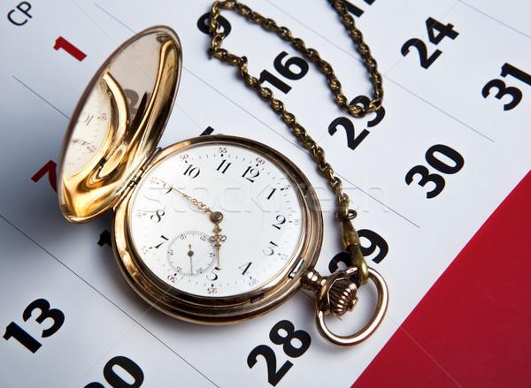 Oro reloj de bolsillo pared calendario primer plano Foto stock © mizar_21984