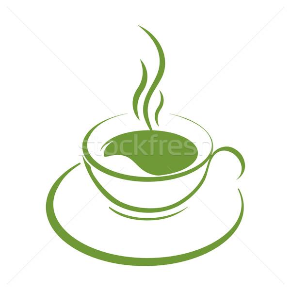 Teáscsésze ikon zöld tea csésze zöld fehér Stock fotó © mizar_21984