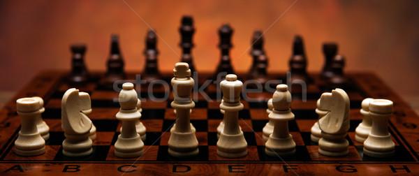 Scacchi gioco pezzi tavola legno Foto d'archivio © mizar_21984
