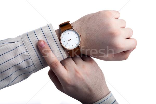 man looking at the time close up Stock photo © mizar_21984