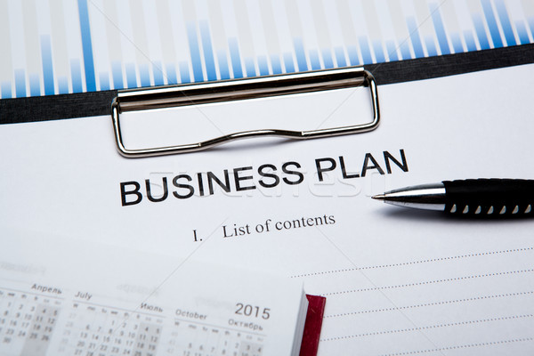 Stock photo: Business still life with business plan