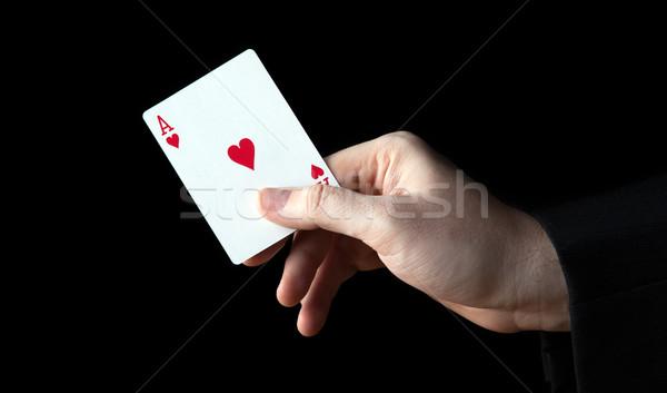 Mão humana ás corações preto coração Foto stock © mizar_21984