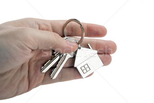 Kulcsok lakás pálma személy izolált üzlet Stock fotó © mizar_21984