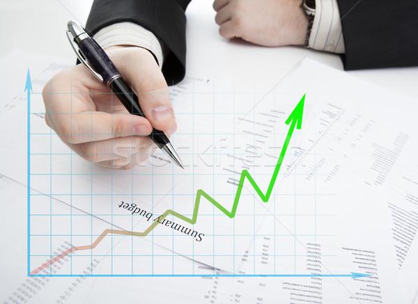 Zakenman pen budget diagram desktop Stockfoto © mizar_21984