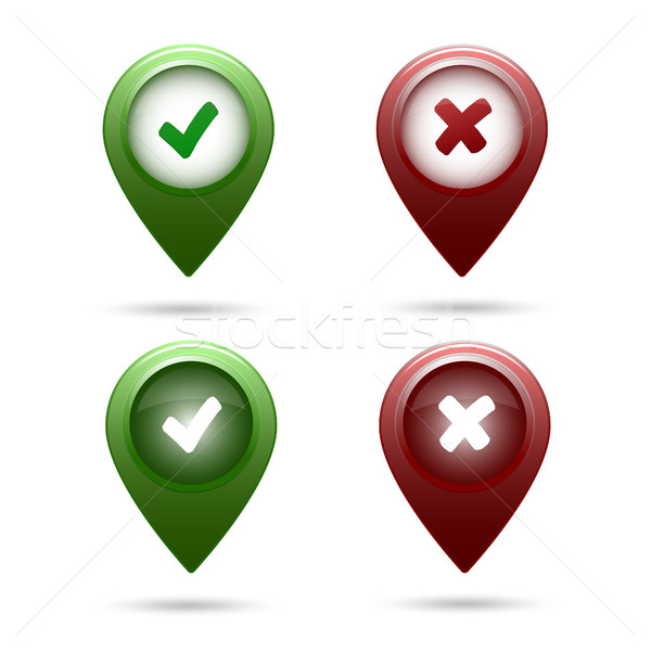 colored map marker set tick and cross Stock photo © mizar_21984