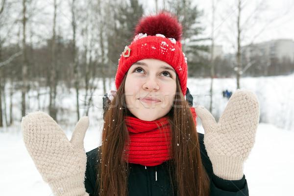 Egy lány tél ruházat ujjatlan kesztyűk mosolyog fiatal lány Stock fotó © mizar_21984