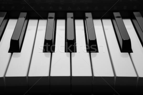 клавиши пианино макроса черно белые ключами фортепиано Сток-фото © mizar_21984