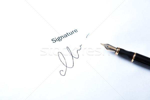 Füller Unterzeichnung Stift weiß Arbeit Stock foto © mizar_21984