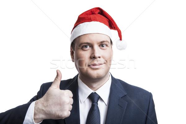 Férfi tél kalap elragadtatott fehér mosoly Stock fotó © mizar_21984