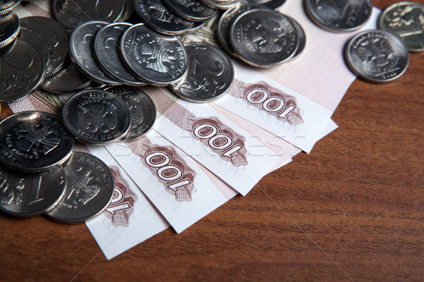 Russia's hundred-ruble banknotes and coins Stock photo © mizar_21984