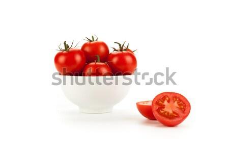 Witte kom Rood tomaten achtergrond kok Stockfoto © mizar_21984