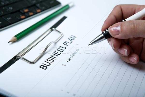 businesswoman filling business plan Stock photo © mizar_21984