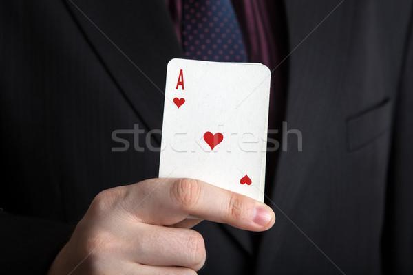 Uomo deck carte ace cuori Foto d'archivio © mizar_21984