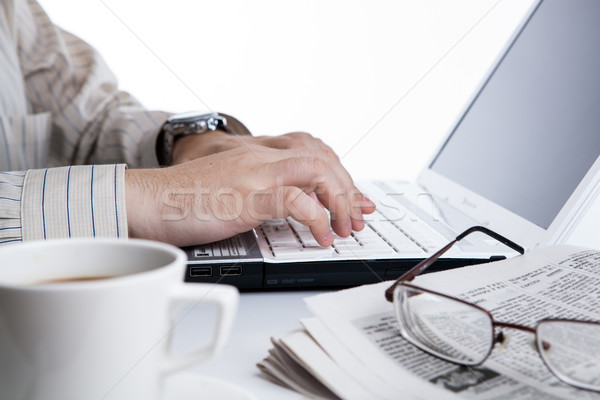 Stock photo: businessman running and a cup of coffee