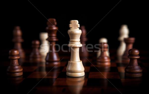 Xadrez jogo rei centro peças de xadrez tempo Foto stock © mizar_21984